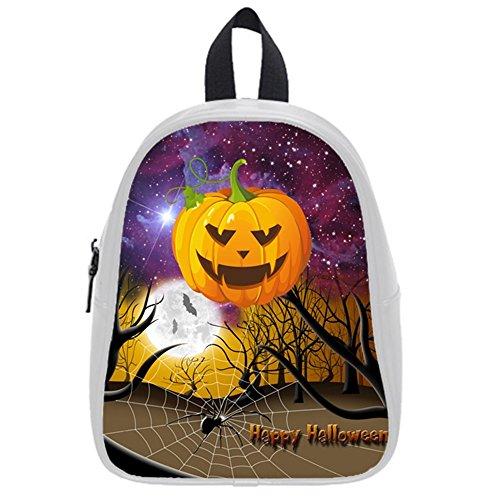 Funny Happy Halloween Elf Space Nebula Galaxy Tribal Jack-O'-Lantern Kid'S School Bag & Backpack For Kids White front-852245