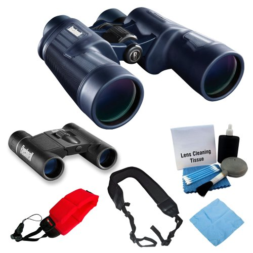 Bushnell 8X42 H2O Waterproof/Fogproof Porro Prism Binocular With Bushnell Powerview 8X21 Folding Roof Prism Binoculars + Foam Float Strap Red + Microfiber Cloth And Lens Cleaning Kit + Wide Strap