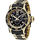 Invicta Men's 6633 Russian Diver Collection Chronograph 18K Gold-Plated Black Rubber Watch