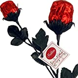"""Deep Red Foil Sweetheart Solid Milk Chocolate Roses (1/2 Oz, 9.5"""" Long) - 3 Roses Bouquet"""