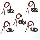 5 Pcs I Type 9V 9 Volt Battery Clip Connectors Buckle Cable
