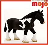 MOJO BLACK WHITE HORSE PAINTED REPLICA FARM ANIMAL COLLECTABLE TOY FIGURE 387085