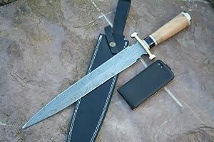 Riesiges Damastmesser sehr groß mit Lederholster wie Damastschwert Dolch Dolchschwert  Bewertungen