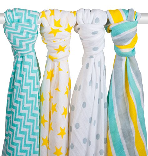 SOFT MUSLIN SWADDLE BLANKETS – 4 Pack Zig Zag Kid 47×47 Large Muslin Baby Blankets For Boys and Girls – 100% Cotton Soft Baby Swaddles – Our Muslin Receiving Blankets are the Perfect Baby Shower Gift