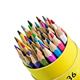 Gliston 色鉛筆 36色セット、収納デザイン丸缶入り(48色/36色/24色/12色オプション)