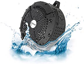 Photive Rain WaterProof Portable Bluetooth Shower speaker. Rugged Wireless Outdoor/Shower Speaker with Built in Microphone - Black