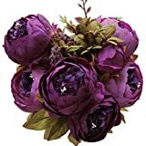 Luyue Vintage Artificial Peony Silk Flowers Bouquet, Purple