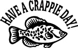 6 wide HAVE A CRAPPIE DAY with fish. Black die cut vinyl decal sticker for any smooth surface such as windows bumpers laptops or any smooth surface.