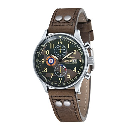 Avi-8 Hawker Hurricane Chronograph Men's Quartz Watch with Multicolour Dial Analogue Display and Brown Leather Strap AV-4011-09