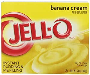 Jell-O Instant Pudding & Pie Filling, Banana Cream, 5.1-Ounce Boxes (Pack of 24)