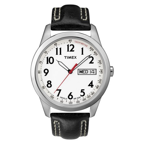 Timex Men's T2N227 Analog Silver-Tone Case Black Leather Strap Dress Watch