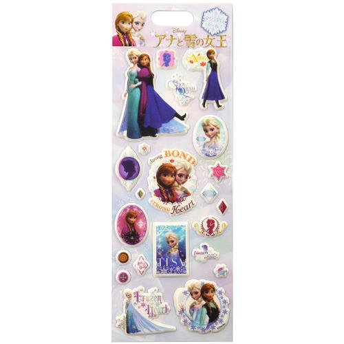 Japan Disney Official Frozen - Anna and Elsa Classic 3D Pop Up Marshmallow Sticker Single Sheet Thick Seal Soft Cover Clear Decal Mural Wonderful Gift Assorted Multicolor
