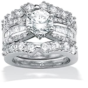 Paris Jewelry Platinum Over Silver Diamond Wedding Ring Set