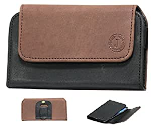 Jo Jo A4 Nillofer Belt Case Mobile Leather Carry Pouch Holder Cover Clip For Intex Cloud Y13 Plus Brown Black