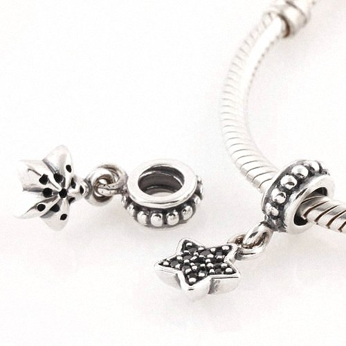 Taotaohas-(1Pc) Oxidized Antique Authentic 100% Solid Sterling 925 Silver Threaded Charm Beads Dangle, [ Name: Pave Star, Stone Color: Jet Black ], With Crystal Czech Rhinestone, Fit European Bracelets Necklaces Chains, Troll, Biagi Glass Charm Beads
