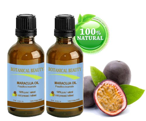Maracuja Oil. 100% Pure / Natural. Cold Pressed / Undiluted. For Face, Hair And Body. 0.33 Fl.Oz-10Ml. (Pack-2) By Botanical Beauty