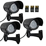 Etekcity� 3 Pack Surveillance Fake Dummy Camera CCD, Baterries Included, with LED Flashing/Blinking Light, Indoor and Outdoor(Black)