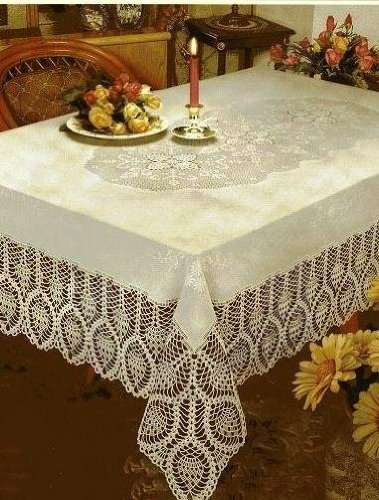NEW CROCHET VINYL LACE TABLECLOTH, 60 wide x 108 long Oblong, Bon...