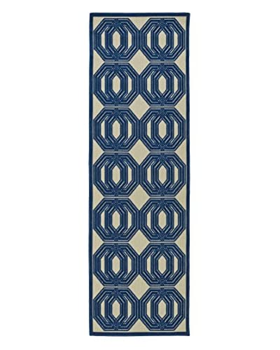 Kaleen Five Seasons Indoor/Outdoor Rug, Navy, 2' 6 x 7' 10 Runner