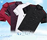 Veste homme et veste femme cuisinier uniforme traditionnel de travail cuisine durable veste d'été professionnel veste serveuse livraison vite (M)