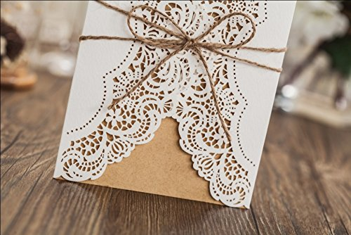 Wishmade 50x Rustic Laser Cut Lace Sleeve Wedding Invitations Cards Kits for Engagement Bridal Shower Baby Shower Birthday Graduation Cardstock with Hollow Favors Rustic Envelope(Set of 50pcs) 6