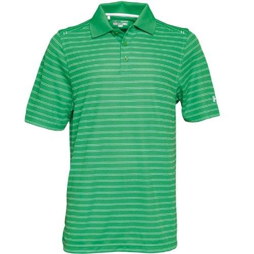 Under Armour Mens Heat Gear Core Pique Stripe Polo Green