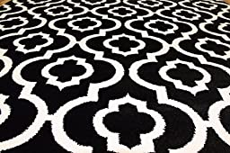 3028 BlackWhite Moroccan Trellis 5\'2x7\'2 Area Rug Carpet Large New