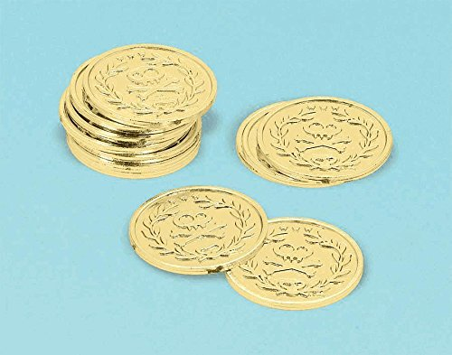 Amscan Shiny Disney Jake & The Never Land Pirates Coins (12 Piece), Gold, 1 3/8 x 1/8""