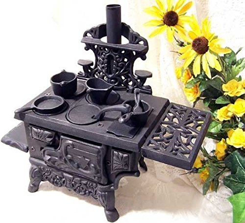 Antique Style Cast Iron Cooking Oven Pots Pans Set Miniature Wood Burning Stove (Miniature Wood Burning Stove compare prices)