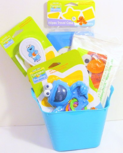 Bundle - 5 Items: Sesame Street Sesame Beginnings Baby Toddler Accessories Gift Set with Water-filled Teether, Hair Brush and Comb, Wipes Travel Case, Cushiony Thick Wipes with a Mini Tub (Turquoise)