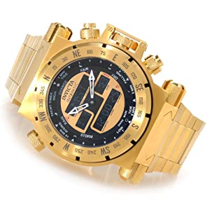 Invicta 13080 Men's Coalition Force Swiss Made Ana/Digi Gold Tone Bracelet Watch