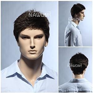(WG-SRT1168S-6)Short Straight Men Wig,Darkest Brown color. by Roxy Display
