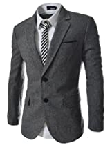 (OSJ1036) TheLees Slim Fit Notched Lapel Single Breasted 2 Button Blazer GRAY Large(US Medium)