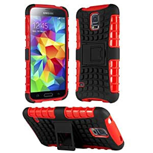 HHI Dual Armor Composite Case with Stand for Samsung Galaxy S5 - Red