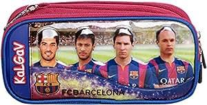 Trousse avec 2 poches (!!) officiellement certifiée Authentique de FC Barcelone, avec les images et signatures des joueurs de l'équipe - Marchandise certifiée FC Barcelone