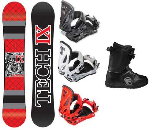 Technine IX Flat Red Snowboard Complete Package with Split T Bindings and Flow Vega BOA Men's Boots Board Size 156