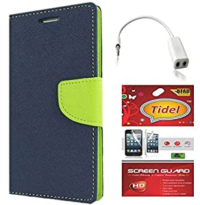 Tidel Premium Table Talk Fancy Diary Wallet Flip Cover Case for Lenovo A6000 Shot (Blue) With Tidel Screen Guard & Audio Spliter