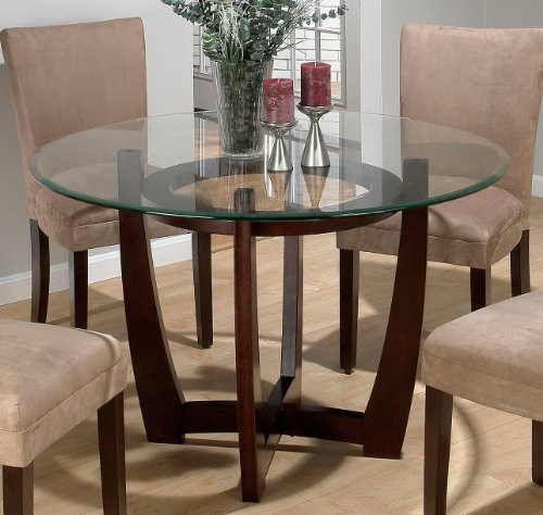buy low price 6 pc trevi round glass top pedestal dining table set by aico latte 63001 set1. Black Bedroom Furniture Sets. Home Design Ideas