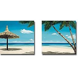 Seashore Serenity I & II by Elena Panizza 2-pc Premium Gallery Wrapped Canvas Giclee Art Set (Ready-to-Hang)