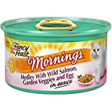 Fancy Feast Wet Cat Food, Mornings Medley, with Wild Salmon, Garden Veggies and Egg in Sauce, 3-Ounce Can, Pack of 24