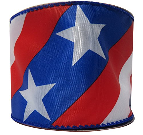 4th of July Patriotic Wired Ribbon Stars and Stripes Red White Blue 2 1/2 inches X 12 Feet