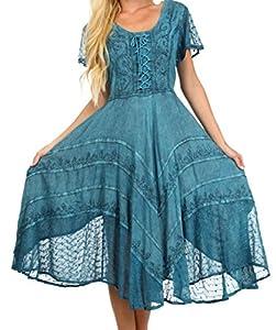 Sakkas 1322 Marigold Fairy Dress - Turqouise Blue - One Size Plus