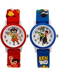 S S TRADERS -Cute Red Chotabheem Round Red Dial Analogue Watch And Blue Ben10 Analog Watch For Kids - Best Birth...