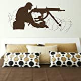 Military Gunner - Big Wall Sticker / Soldier Transfer / Boys Army Decor Art bn14