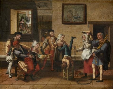 Oil Painting 'Jan Van Amstel - Pub Scene, 16th Century', 12 x 15 inch / 30 x 38 cm , on High Definition HD canvas prints is for Gifts And Basement, Foyer And Hallway Decoration, prints (Led Stock Ticket compare prices)