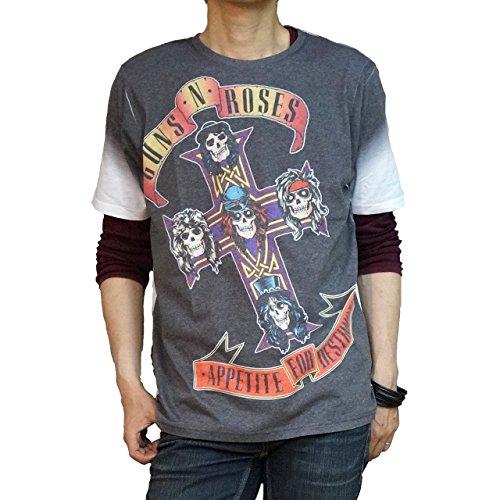 Hippies (ヒッピーズ) バンド Tシャツ ガンズ アンド ローゼス Rock Off 公式 1st プリント メンズRO-APE (Lサイズ)