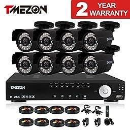 TMEZON 16CH Channel HDMI Video DVR CCTV Security Cameras System 8x 800tvl 960H IR Cut Outdoor Bullet Hi-Resolution Surveillance Cameras Black Smart Phone View