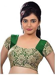Santosh Fashion Women's Silk Cotton Blouse (BL-12_Green Gold _Medium)(pack of 2)