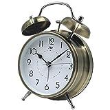 TXL ツインベル目覚まし時計 レトロ バックライト付き アンティーク 金属製時計 大音量 アナログ 連続秒針 音がしない 4インチ ブロンズ