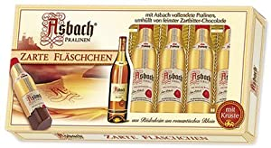 Asbach Uralt Brandy 8 Filled Bottle Shaped Chocolates with Sugar Crust in Window Gift Box - 100g/3.5oz
